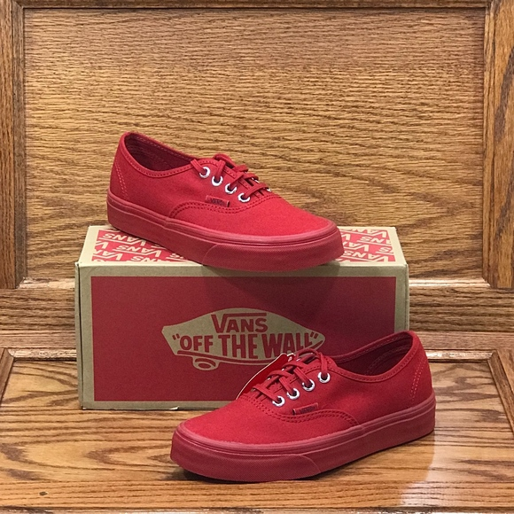 autumn shoes hot sale wide range Vans Authentic Primary Mono Red Silver Shoes NWT